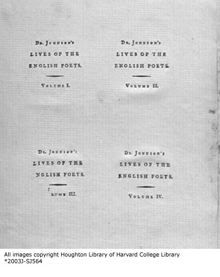 Labels of Johnson's Lives of the English Poets
