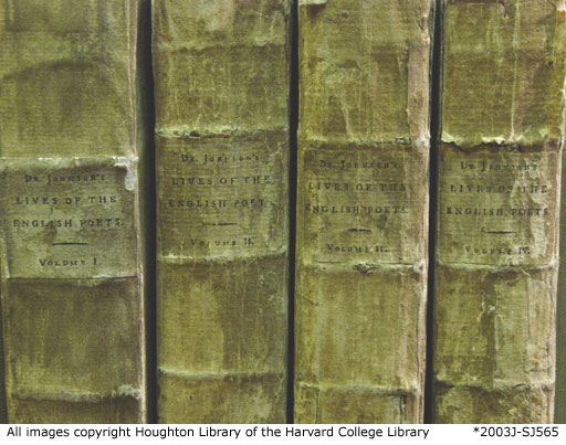 Spines of Johnson's Lives of the English Poets