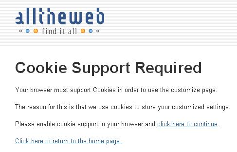 Alltheweb cookies disabled
