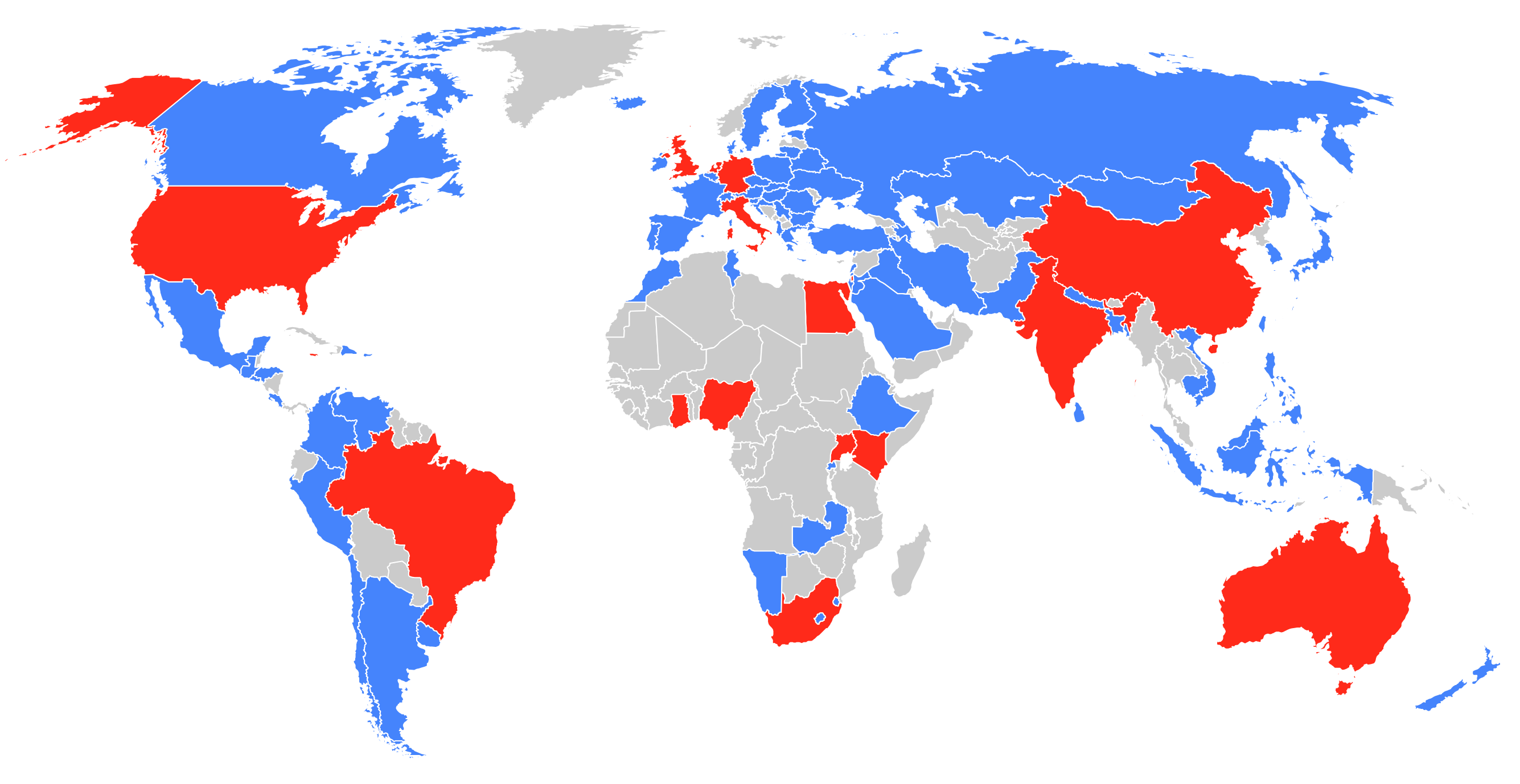 World map highlighting the countries of residence of CopyrightX participants
