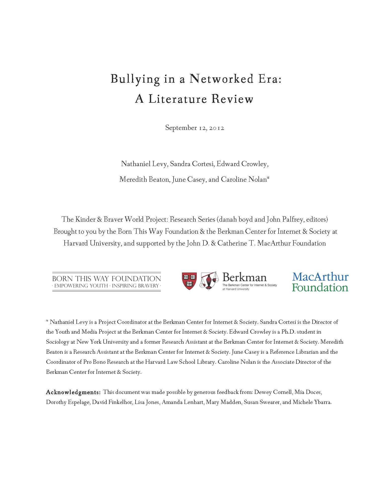 Bullying in a Networked Era: A Literature Review | Berkman ...