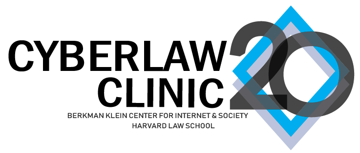 Logo for the Cyber Law Clinic's 20th anniversary