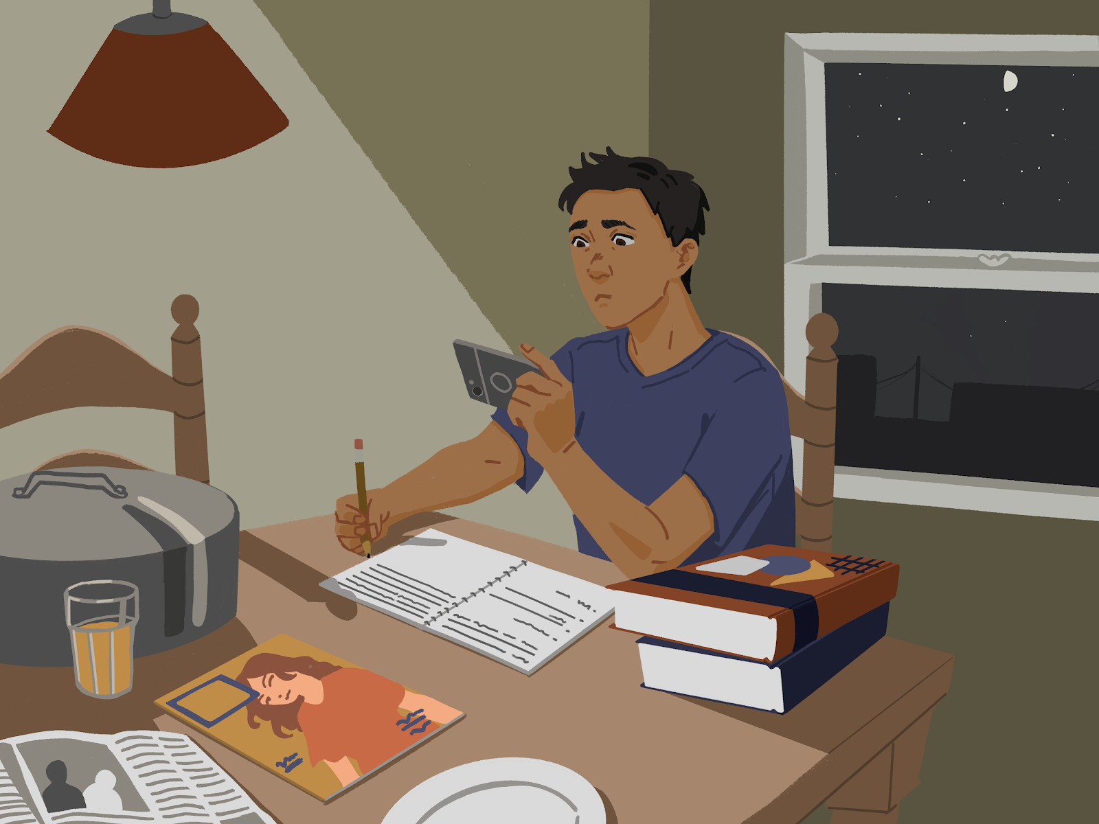 An illustration of a student looking at his phone while doing homework