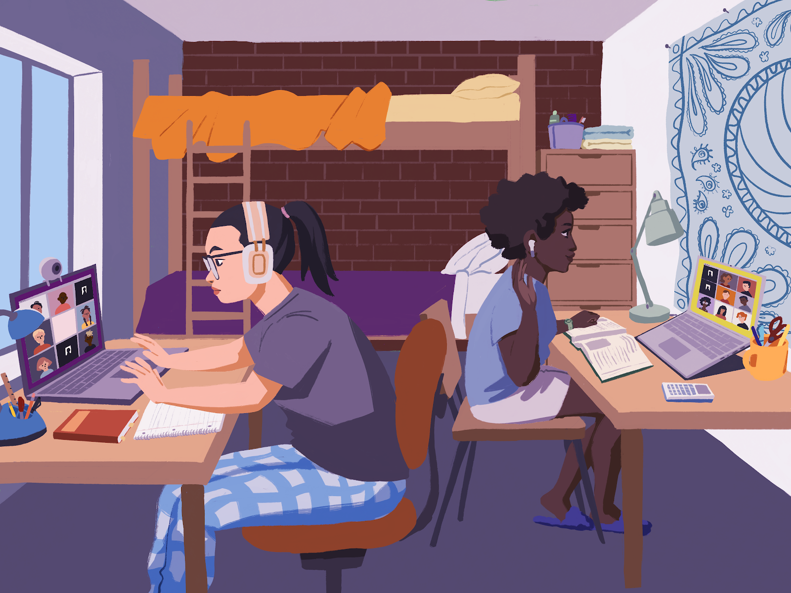 An illustration of two students in a dorm room, logged in to zoom.