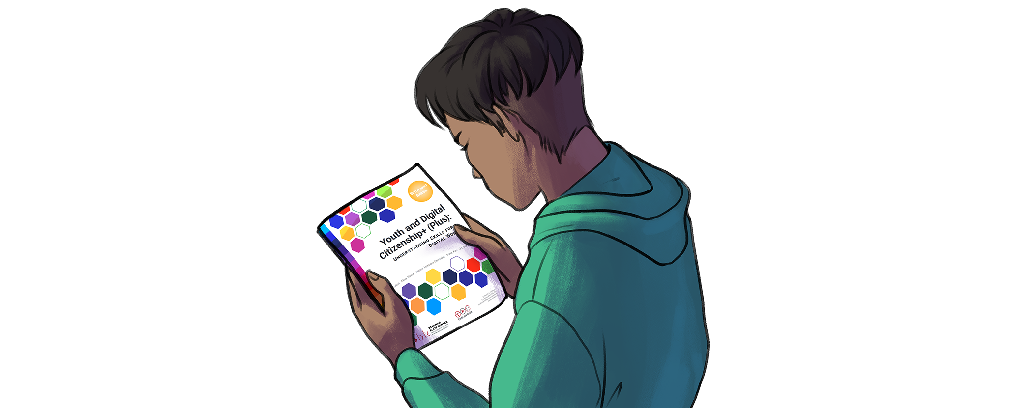 Illustration of a young person reading the digital citizenship report