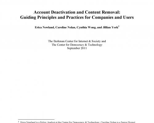 Account Deactivation and Content Removal: Guiding Principles and Practices for Companies and Users